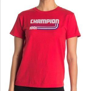 NEW Champion retro logo tee red size large
